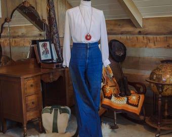 Vintage blouse - 1970s high neck poet sleeve blouse