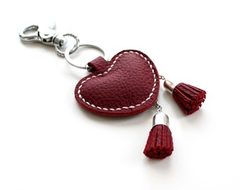 Red Leather Keychain Red Heart Real Leather Heart Charm Keychain Valentines Day Gift valentine's day keychain Red Keyring Leather Bag Charm