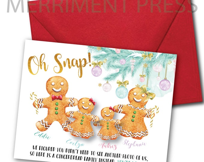Funny Christmas Card, Personalized, Gingerbread Holiday Card, Family Christmas Card, Cute Holiday Christmas Card, Customized