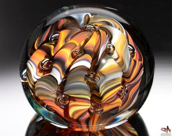 Handblown Glass Paperweight - Earth Tone Contoured Stripes with Bubbles
