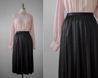 high-gloss silky black knife pleat skirt | extra small