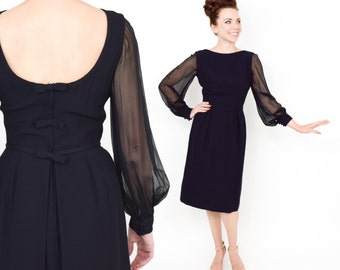 50s Little Black Dress | Wiggle Party Dress | Sheer Sleeves Dress |  Small