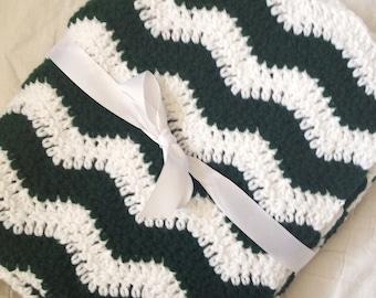 Crochet baby blanket pine green and white ripple chevron blanket photo prop