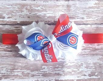Chicago Cubs Headband/ St. Louis Cardinals Headband/ Cubs Headband/ Cardinal Headband/ Cubs Bow/Cardinals Bow/ Newborn Headband/ Baseball