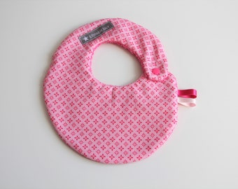 Small bib snap pink little flowers and pink sponge