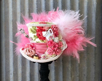 Mini Top Hat, Antique Pink and Ivory Tea Cup hat, Alice in Wonderland, Mad Hatter Hat, Tea Hat,Mad Hatter Tea Party, Coral roses Tea Hat