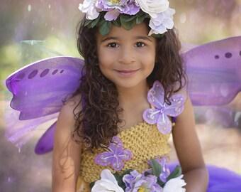 Purple Fairy Costume - Girls Fairy Dress - Woodland Fairy - Fairy Outfit - Fairy wings - Fairy Tutu Dress - Purple Fairy Crown