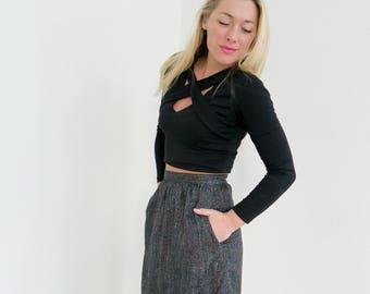 "1980s Black Fleck Skirt // Size Extra Small  // 25-1/2"" Waist"