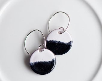 Black and White Copper Enamel Earrings, Torch Fired Enamel, Handmade Sterling Silver Ear Wires, Simple Earrings, Dangle Earrings