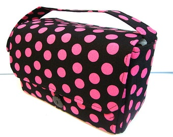 "Large 4"" Size Coupon Organizer Budget Holder Coupon Bag  Attaches to Your Cart Black with Pink Dots"