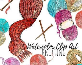 Knitting clip art - Watercolor clip art - Hand drawn - Craft clip art - Commercial Use
