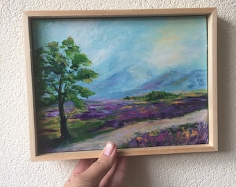 Original painting, landscape painting, colorful, mini painting, tiny art, contemporary art, gift for her, christmas gift, purple,  framed