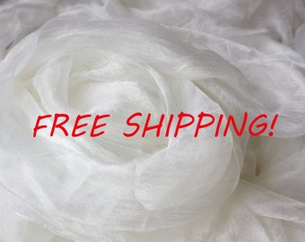 50 meters of Pure silk gauze, sparse, for nunofelting 90 cm, 35 inch