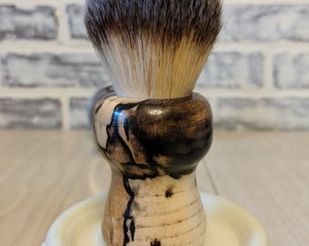 Beautiful Vintage Style Stabilized Spalted Hackberry Barber Shaving Brush 26mm syntheic badger hair knot
