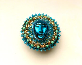 Beadwoven/ Beaded Brooch, Face of the Moon, Blue Moon, Starry Night, Royal Blue Titanium Carved Agate Brooch - Lunar Face by enchantedbeads