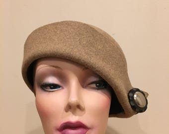 Hand blocked hat with buttons
