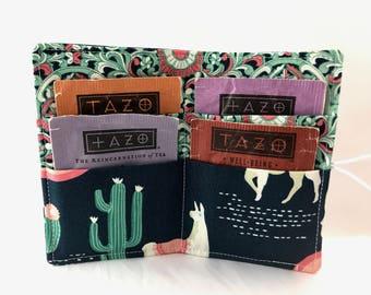 Tea Wallet Tea Bag Wallet Tea Bag Case Tea Bag Holder - Tea Holder Tea Bag Cozy Tea Bag Organizer Lingering Llamas in Sedona Green