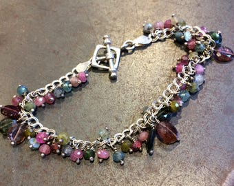 Watermelon Tourmaline and Sterling Silver wire wrapped charm bracelet