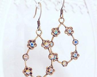 Summer Hoop Earrings - Flower Earrings - Gold Hoops - Silver Hoops - ELYSIAN Aurora Borealis