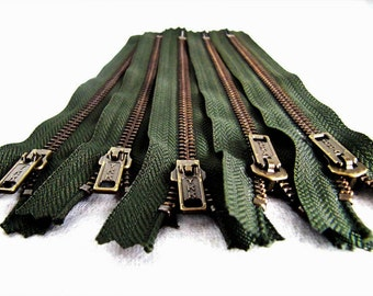 7inch - Forest Green Metal Zipper - Brass Teeth - 5pcs