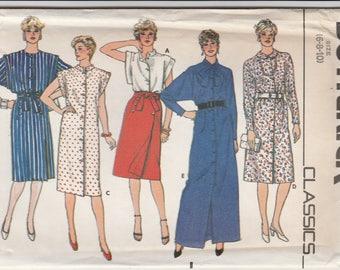 80s Wrap Skirt, Blouse & Dress Pattern Butterick 4907 Sizes 6 8 10 Uncut