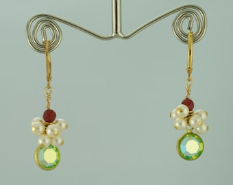 CLUSTER Pearl earrings with Carnelian and Swarovski Channel Crystal