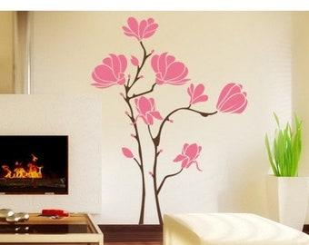 20% OFF Memorial Day Sale Magnolia flower wall decal, sticker, mural, vinyl wall art