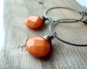 Large Hoop Earrings -  Orange Jade. Oxidized Sterling Silver Fall Boho Autumn Earthy Halloween Jewelry Gifts Under 50 - Persimmon