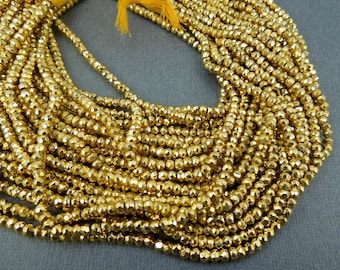 Tiny Gold Pyrite Rondelle Beads - 1 STRAND 3mm Gold Pyrite Beads (GRS-03)