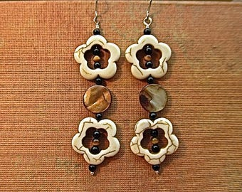 magnesite,mother-of-pearl,black onyx,tigereye earrings