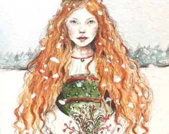 Gingerbread Bride, original watercolour illustration, 10.5 cm x 14 cm