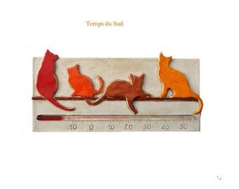 thermometer  cats, original design, horizontal, orange