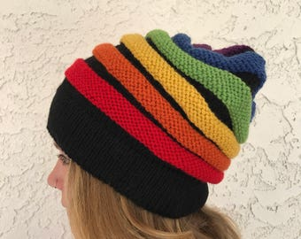 Rainbow Slouchy Hat with Black