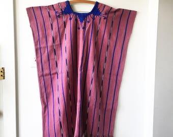 Vintage Guatemalan Hand Loomed Kaftan , Embroidered Huipil Dress , Ethnic Fringed Caftan