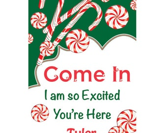 Christmas Birthday Door Sign. Holiday. Peppermint. Red. Green. Christmas. Candy.