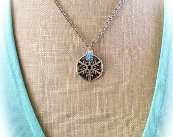 Snowflake Necklace, Claire's Snowflake Pendant Outlander Wedding, Bridesmaid Gift Christmas Wedding Winter Wonderland Wedding