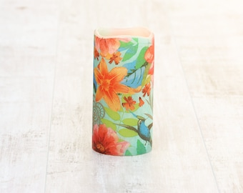 Whimsical Decorative Flameless Candle With Tropical Flower Print, Bohemian Home Decor, LED Candle, Whimsical Home Decor, Gift For Her