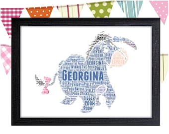 Personalized Gift Eeyore Winnie The Pooh Gift Wall Art Wall Prints Wall Art Wall Decor Pooh Bear Dad Personalised Gift Wall Art Prints