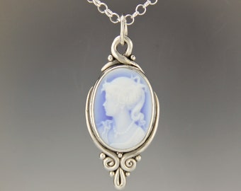 Blue Agate Cameo Necklace/ Silver Cameo Pendant/ Victorian Modern Cameo Necklace/ Sterling Silver Cameo Jewelry/ Modern Cameo Pendant/ P765