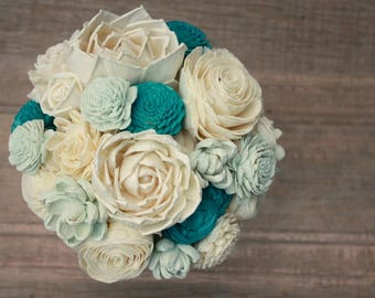 Sola flower bouquet, brides wedding bouquet, blue wedding flowers, eco flower bouquet, aqua, teal, eco flowers, navy blue sola wood flowers