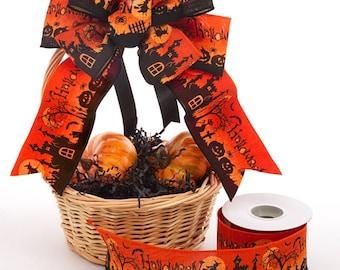 "Orange Halloween Scene Wired Ribbon 2 1/2"" wide, Halloween Ribbon, Pumpkin Ribbon, Orange Ribbon, Wreath Ribbon,"