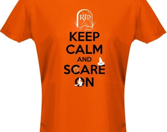 Keep Calm And Scare On Costume Fancy Dress Halloween Womens T-Shirt 8 Colours (8-20) by swagwear