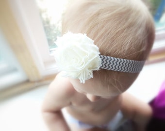 Chevron Cutie! White Rosette Flower with Grey & White Chevron. Adorable Boutique Baby Shabby-Chic Headband. 6-12 month