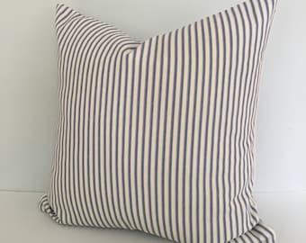 Black Ticking Stripe Throw Pillow Cover Knife Edge 18x18