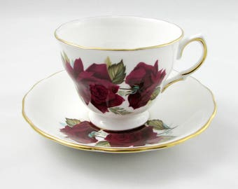 Vintage Tea Cup and Saucer by Royal Vale with Red Roses, English Bone China
