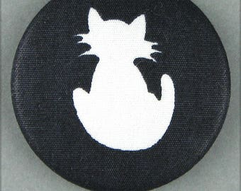 Fabric covered button - cat - Silhouette of cat - 40 mm (40-46)