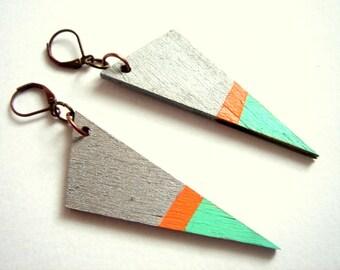 Geometric Earrings , Wood Neon Triangles Earrings,Geometric Jewelry
