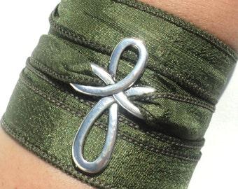 Cross Bracelet - Christian Jewelry - Religious Bracelet - Christian Bracelet - Wrap Bracelet - YOGA Silk Wrap - Yoga Jewelry - Green Wrap