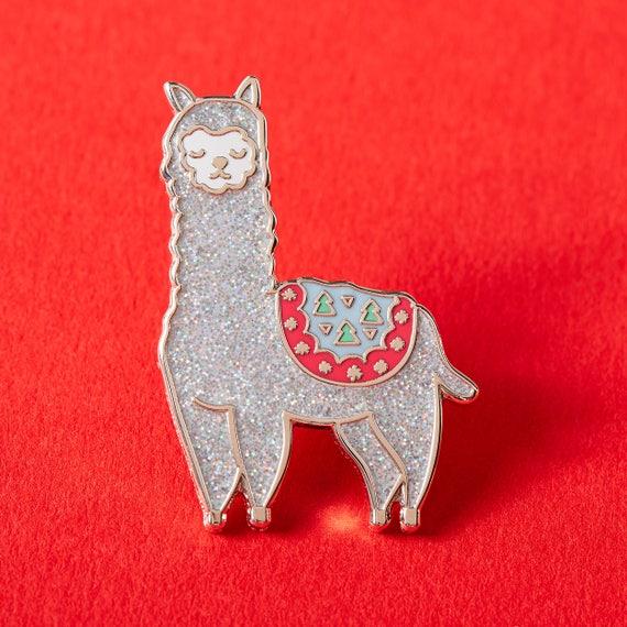 SALE Festive Alpaca Enamel Pin // Christmas Pin // Llama