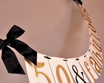 50th Birthday Decoration.  Handcrafted in 2-5 Business Days.  50 & Fabulous Banner.